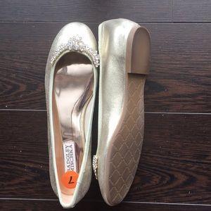 New Badgley Mischka Gold Embellished Ballet Flats